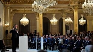 French President Emmanuel Macron delivers a speech during the European start-up ecosystem event 'France Digitale Day 2019' conference at the Elysée Palace in Paris.