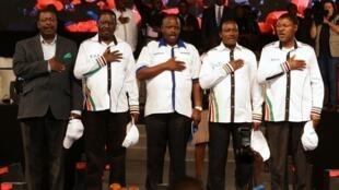Viongozi wa muungano wa upinzani nchini Kenya  Musalia Mudavadi, Raila Odinga, Issac Ruto, Kalonzo Musyoka na Moses Wetangula