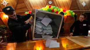 Выборы в Госдуму 4 декабря 2011 года, начало подсчета голосов на одном из избирательных участков