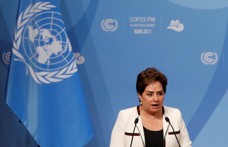 資料圖片:《聯合國氣候變化框架公約》執行秘書帕特里西亞·埃斯皮諾薩2017年11月6日在波恩第23屆聯合國氣候大會開幕式上。