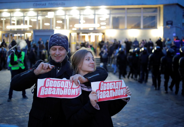 Акция в поддержку Навального в Санкт-Петербурге 21 апреля 2021.