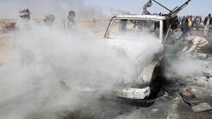 A vehicle hit in Friday's Nato airstrike