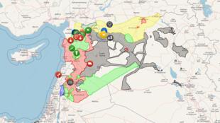 叙利亚战火冲突地图。