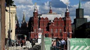Работы в историческом центре Москвы, 11 июля 2016.