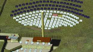 Vue d'artiste du site avec la tour et les miroirs blancs du projet de recherche Pégase et des panneaux photovoltaïques mobiles en bleu foncé pour la production d'électricité.
