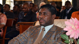 This file photo taken on June 25, 2013 at Malabo's Cathedral shows Teodorin Obiang Nguema, the son of Equatorial Guinea's president Teodoro Obiang Nguema and the then country's vice-president.