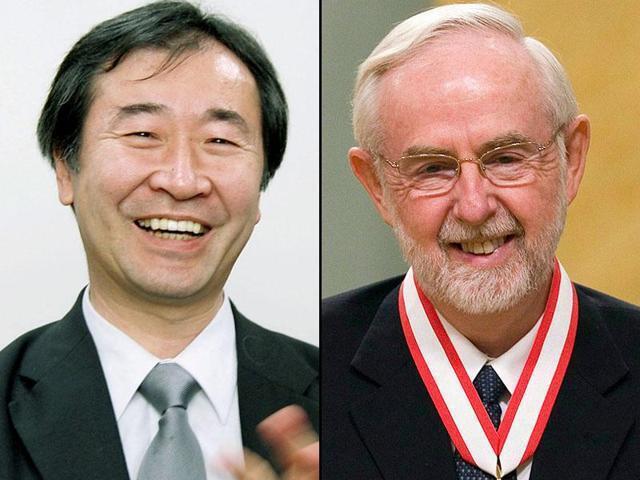 El japonés Takaaki Kajita y Arthur B. McDonald de Canadá, Premio Nobel de Física 2015.