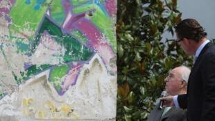O ex-chanceler alemão Helmut Kohl colocou no jardim de sua casa, em Ludwighafen (oeste), um bloco de 2,7 t do Muro de Berlim