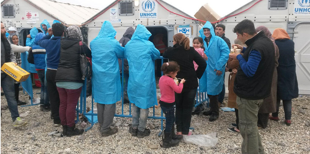 Refugiados sirios e iraquíes en el campamento de Gevgelija, en Macedonia.