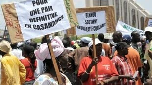 Une manifestation de l'opposition à Dakar pour la paix en Casamance en août 2010.