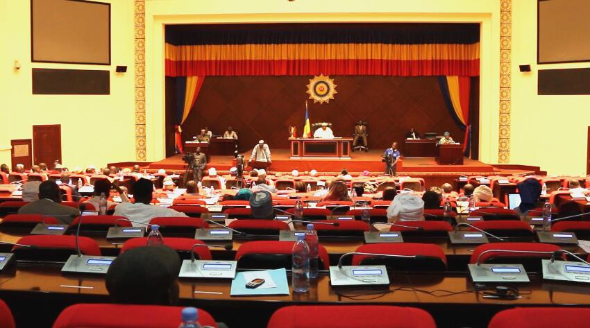 L'hémicycle de l'Assemblée nationale tchadienne lors d'une séance de questions au gouvernement, à Ndjamena, le 16 novembre 2018.