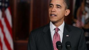 Le président américain, Barack Obama, réagissant à la démission de Hosni Moubarak, à la Maison Blanche, à Washington, le 11 février 2011.