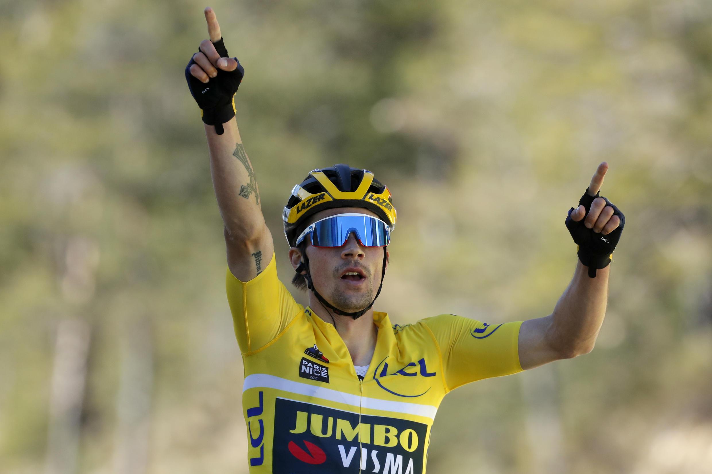 Le coureur vedette de la Jumbo Primoz Roglic ici sur Paris-Nice à Valdeblore, le 13 mars 2021, enlève le Tour du Pays basque