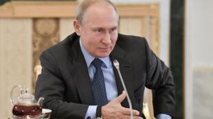 O presidente russo Vladimir Putin durante o Fórum Econômico em São Petersburgo.