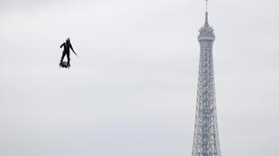 French inventor Franky Zapata on his jetpack near the Eiffel Tower in Paris