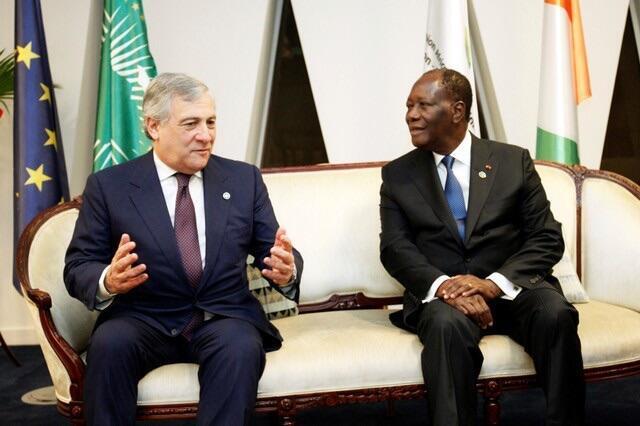 Shugaban Ivory Coast Alassane Ouattara tare da shugaban Majalisar Turai Antonio Tajani