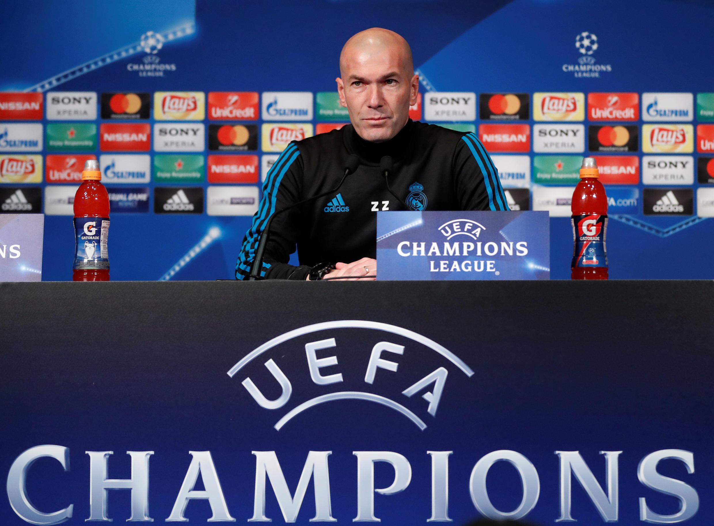 Zinedine Zidane, treinador do Real Madrid, durante coletiva de imprensa, em Paris.
