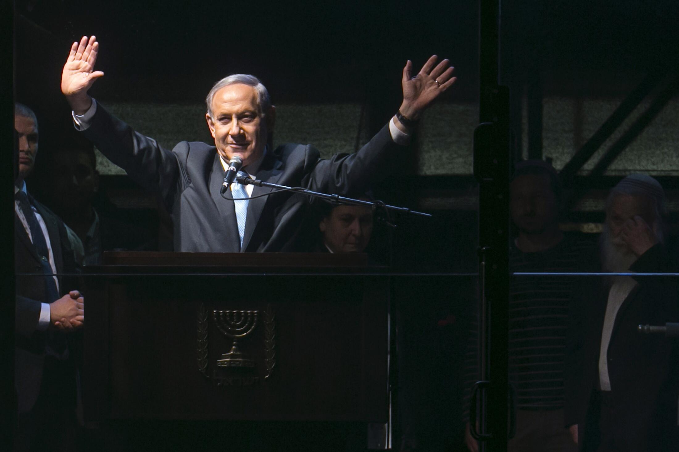 Benyamin Netanyahu, lors de son dernier meeting à Tel Aviv, le 15 mars 2015.