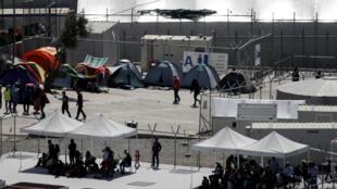 Le centre de rétention Moria sur l'île grecque de Lesbos.