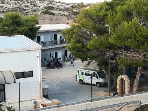 Une vue du centre d'accueil pour les migrants débarqués de l'«Open Arms», le 21 août 2019.