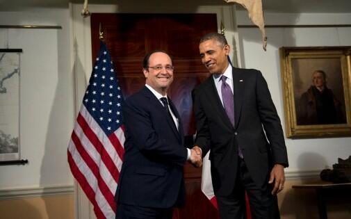 Ma rais wa Ufaransa Francois Hollande na Barack Obama wa Marekani Februari 10,2014