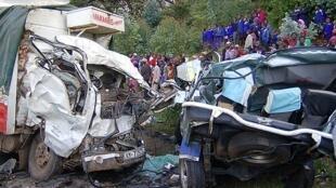Road accident that occurred on the Kisumu-Kakamega highway, Kenya