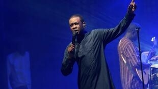 Le chanteur sénégalais Youssou N'Dour en concert.