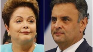 Aécio e Dilma durante o debate no SBT, nesta quinta-feira