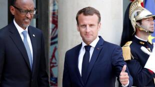Le président français, Emmanuel Macron, a reçu son homologue rwandais, Paul Kagame, à l'Elysée, Paris, le 23 mai 2018.