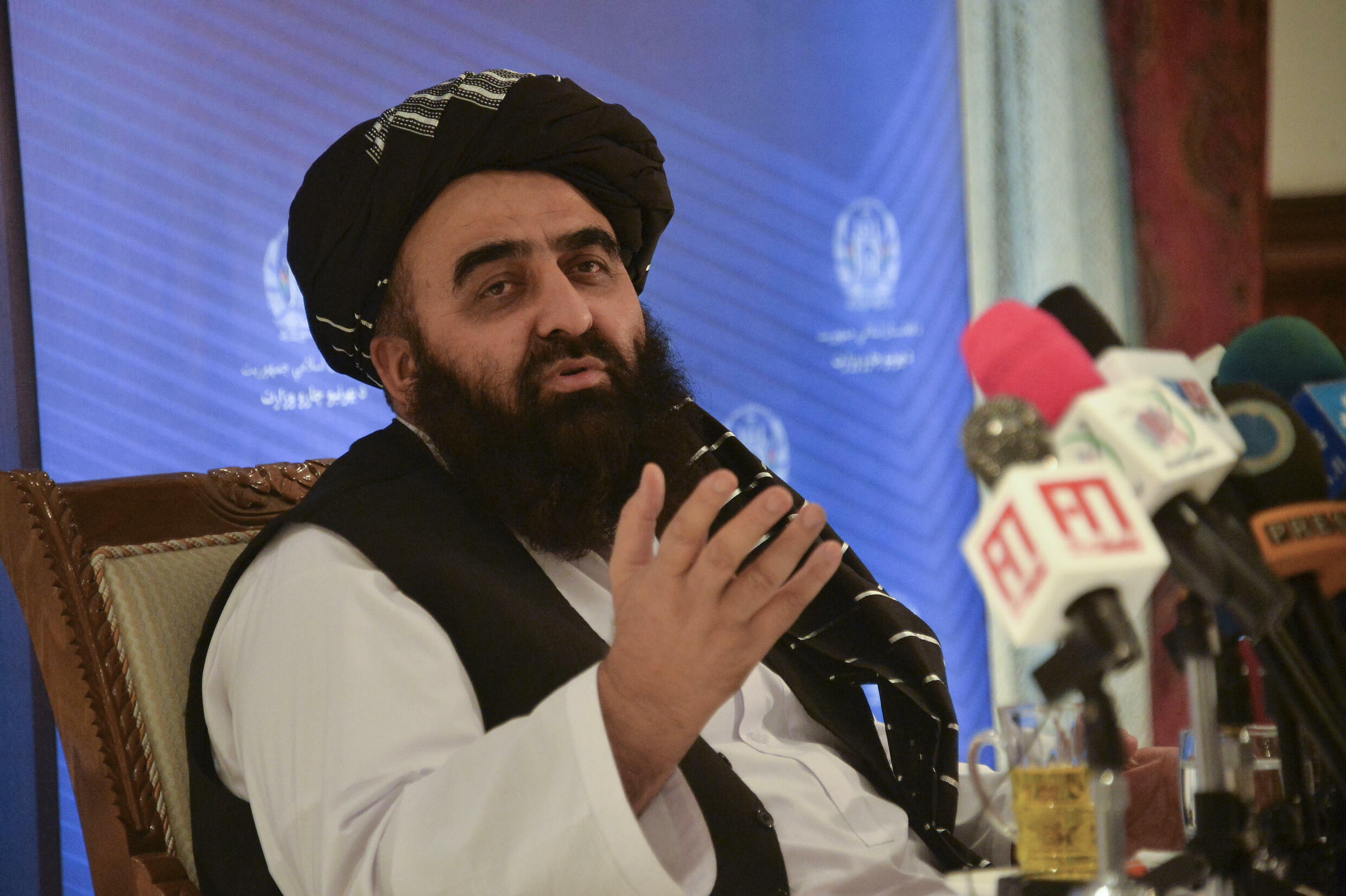 """Afghanistan's Acting Foreign Minister Amir Khan Muttaqi, pictured at the foreign ministry in Kabul on September 14, 2021, says the Taliban seek """"positive relationships"""" with the world"""