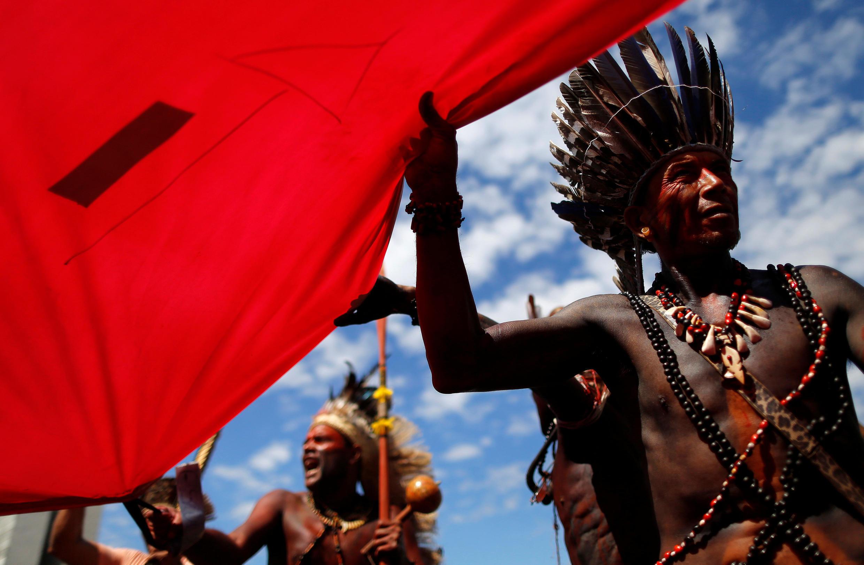 Le 26 avril 2018, les Indiens manifestaient à Brasilia pour protester contre la politique du président brésilien Michel Temer à leur égard.