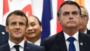 Presidentes Macron e Bolsonaro, em junho de 2019 em Osaka, na cimeira do G20 onde teria tido lugar as mentiras embientais de Bolsonaro