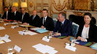 Lors du premier conseil des ministres à l'Elysée, le 18 mai 2017.