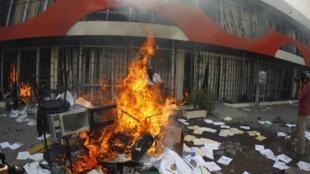 A Chilpancingo, les locaux du ministère de l'Education ont été saccagés et incendiés, le 12 novembre 2014.