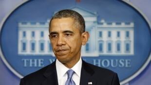 Barack Obama lors de la conférence de presse donnée à propos des sanctions à l'encontre de la Russie, le 17 mars 2014.