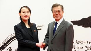 Bà Kim Yo Jong, em gái lãnh đạo Bắc Triều Tiên Kim Jong Un, trong một lần gặp tổng thống Hàn Quốc Moon Jae In (Ảnh do KCNA công bố ngày 10/02/2018, nhưng không ghi ngày).