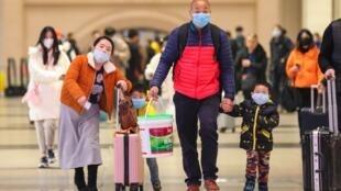 Kituo cha treni  cha Hankou huko Wuhan, mkoa wa kati wa China wa Hubei, Januari 21, 2020.