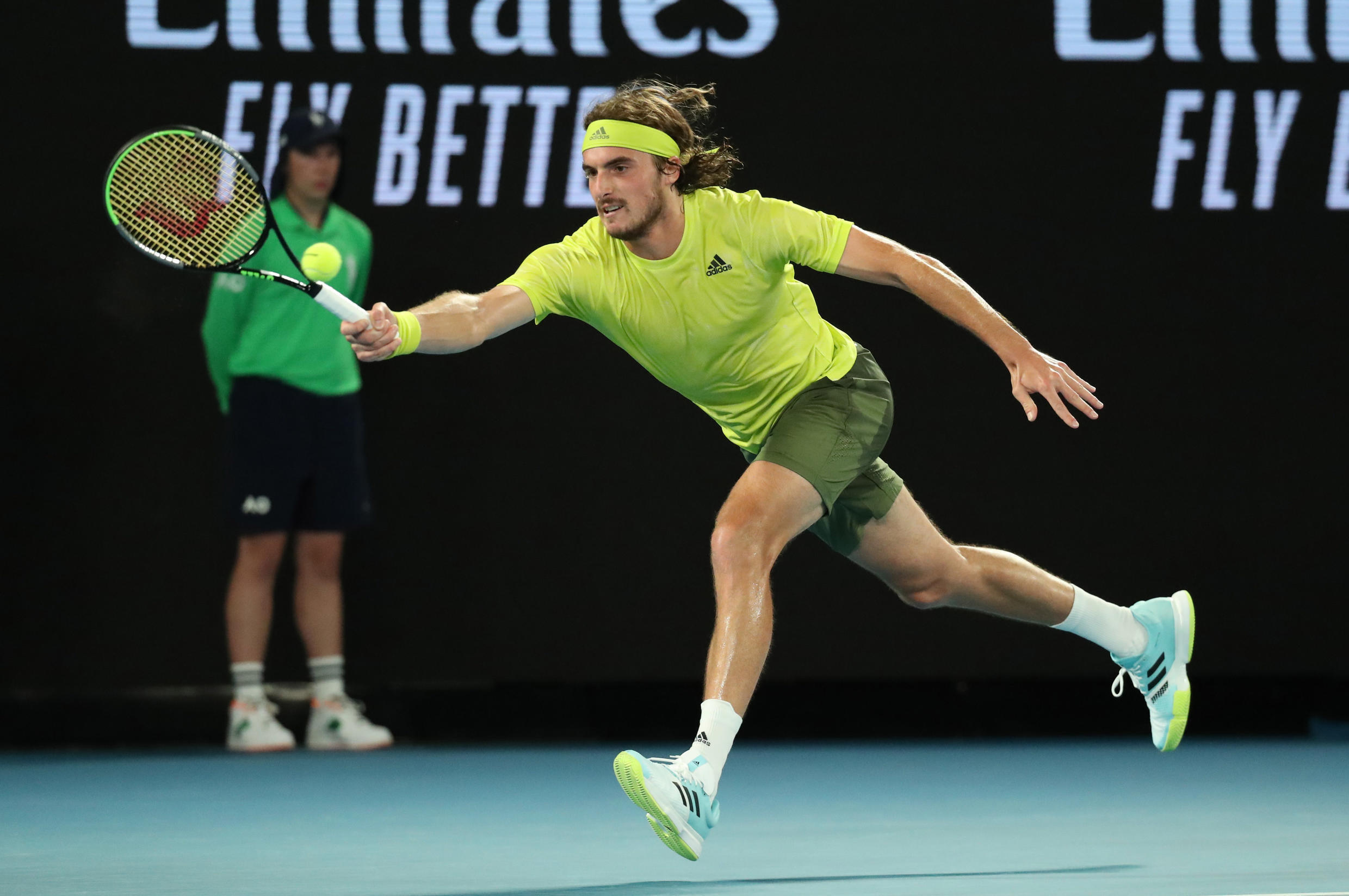 Stefanos Tsitsipas dropped only four games during his first round match against the French veteran Gilles Simon.