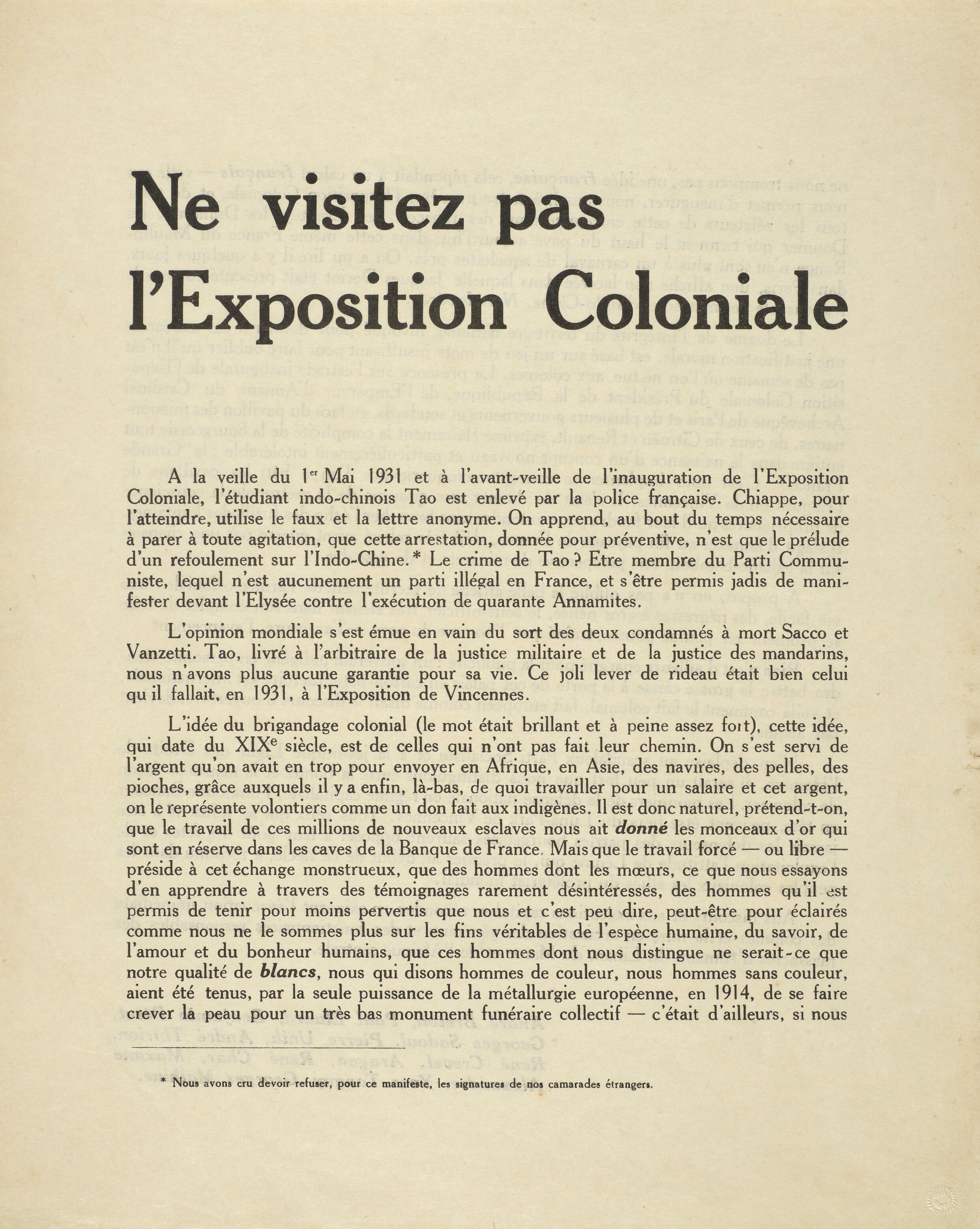"""""""Do not visit the colonial exhibition,"""" (Do not visit the Colonial Exhibition, 1931) at """"Surrealist documents"""", published in Complete Works of Paul Eluard, (Complete Works II).  Presented at the Un.e Air.e de Famille exhibition, in Saint-Denis, from June 25 to November 8, 2021"""