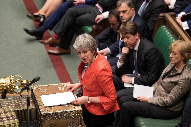 La Première ministre britannique Theresa May, le 12 mars 2019 au Parlement.