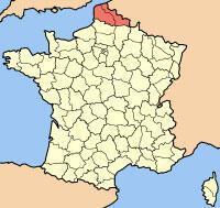 Регион Север - Па-деКале на карте Франции.