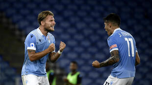 Ciro Immobile (L) has scored an Italian top flight record-equalling 36 goals in Serie A this season.