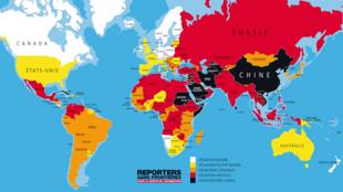 L'Ethiopie (en rouge) occupe la 133ème place sur 179 dans le dernier classement mondial de la liberté de la presse établi par Reporters sans frontières.