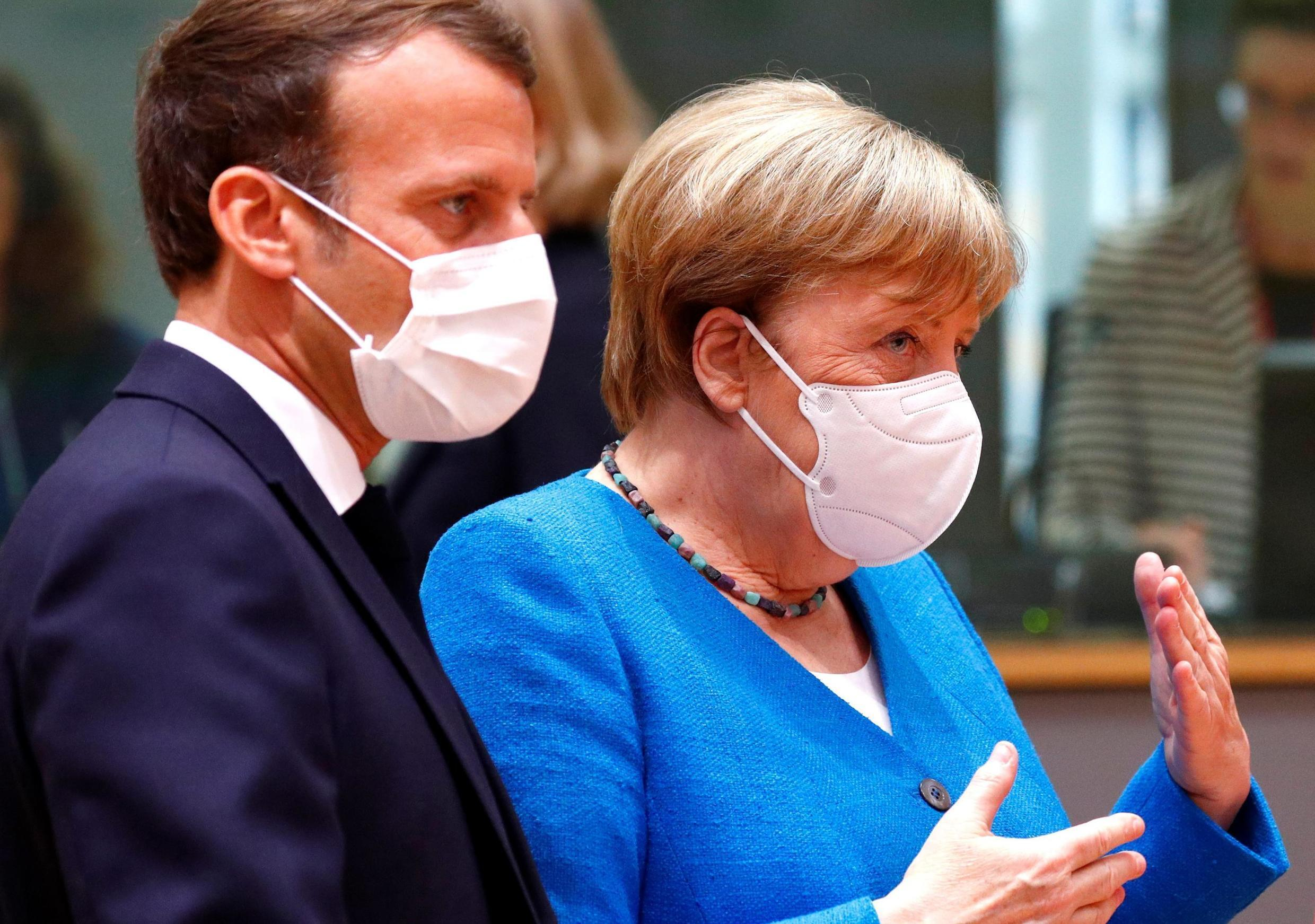Angela Merkel and Emmanuel Macron are trying to save an EU-wide recovery deal, 18 July 2020 in Brussels.