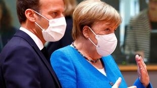 Angela Merkel et Emmanuel Macron, le 18 juillet 2020 à Bruxelles.