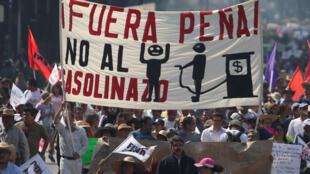 Protestas en la ciudad de México contra el aumento de la gasolina, este 7 de enero de 2017.