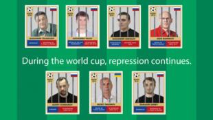 """В июне 2018 г. """"Репортёры без границ"""" провели кампанию за освобождение находившихся в заключении в России журналистов, в том числе и Александра Валова (второй сверху слева)"""