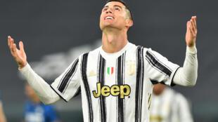 Dan wasan Juventus Cristiano Ronaldo yayin wasar da suka tashi canjaras da Iner Milan kuma suka haye suka haye wasan karshe na kofin Italiya