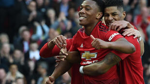 Manchester United forwards Anthony Martial (left) and Marcus Rashford