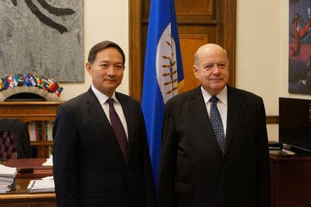 资料照片:外交部部长助理张昆生会见美洲国家组织秘书长因苏尔萨。